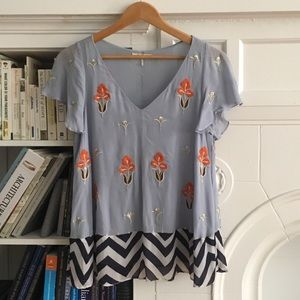 Anthropologie light blue flowy top